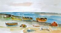 Barche in riva al mare '84 cm30x50